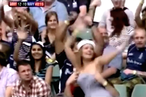 rugby fan exposes girlfriends boobs - flashing sports fans
