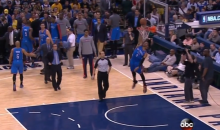 Russell Westbrook Took a Nasty Spill Blocking a Shot During a Time Out (Video)