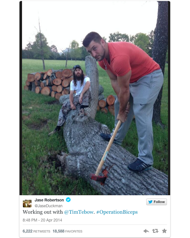 tim tebow chopping logs