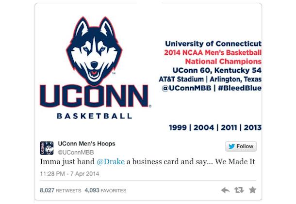 uconn huskies drake tweet