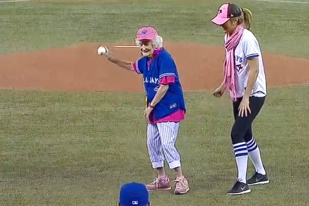 101 year old grandma throws out first pitch at jays game