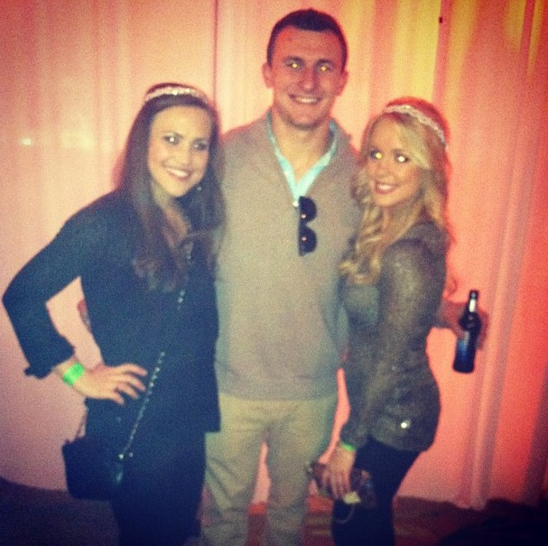 11 johnn manziel with alex corddry cbs 42 birmingham (right) at super bowl party