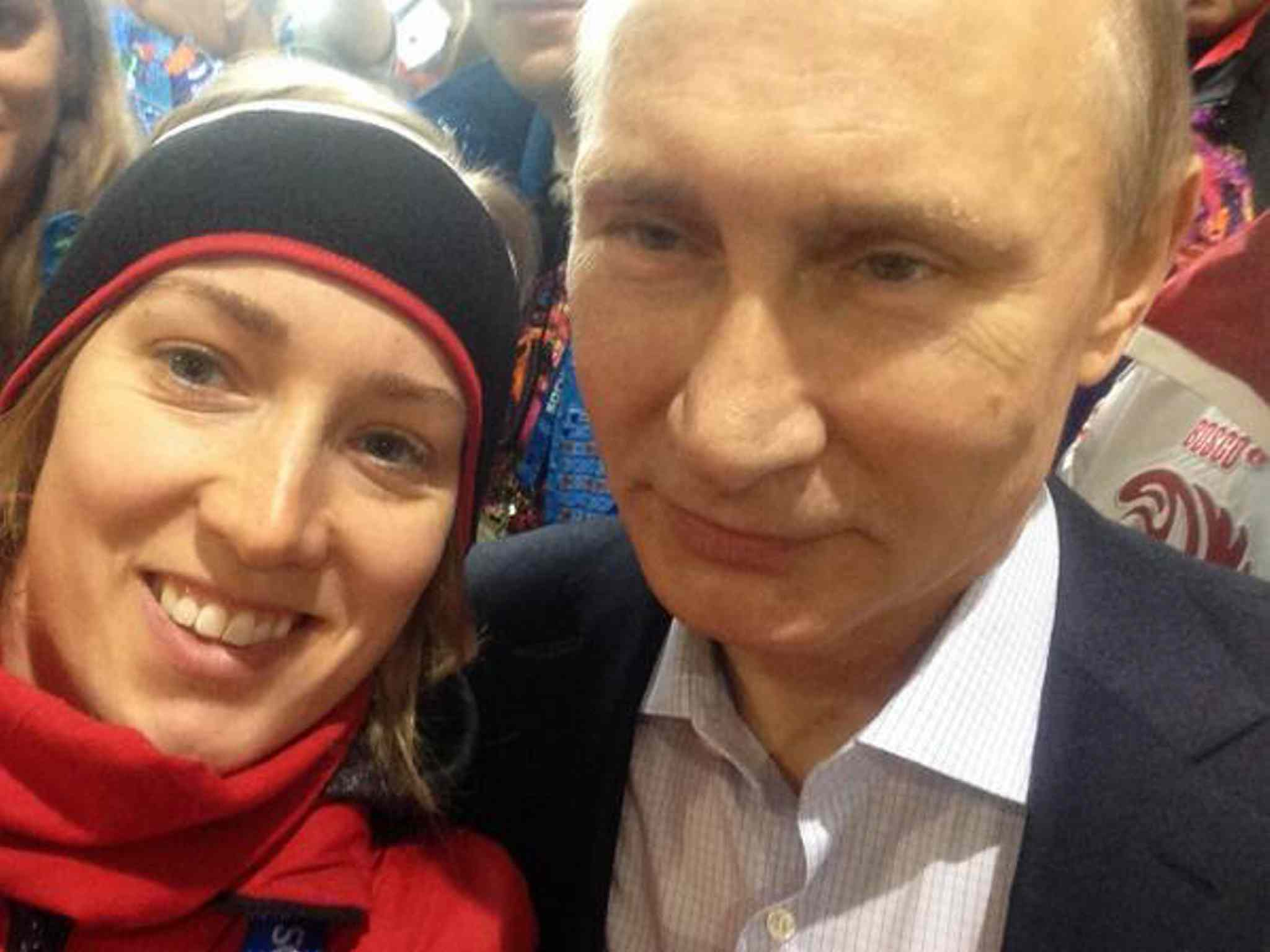 8 brittany schussler selfie with putin at canada house sochi - best sports selfies