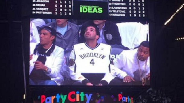 Drake courtside brooklyn nets jersey