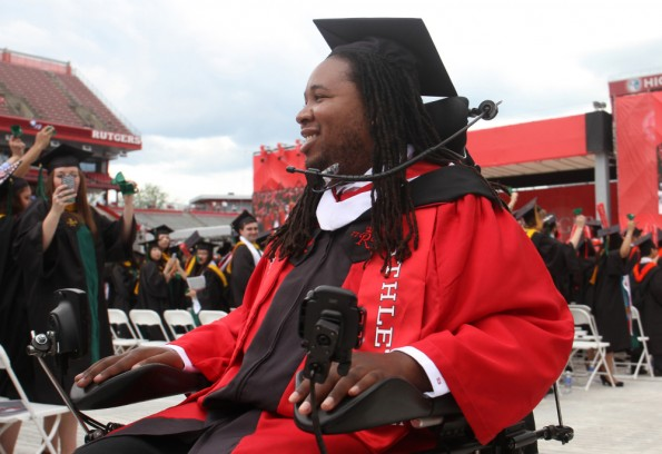 Eric LeGrand at Rutgers Graduation (Photo by Jason Towlen, AP)
