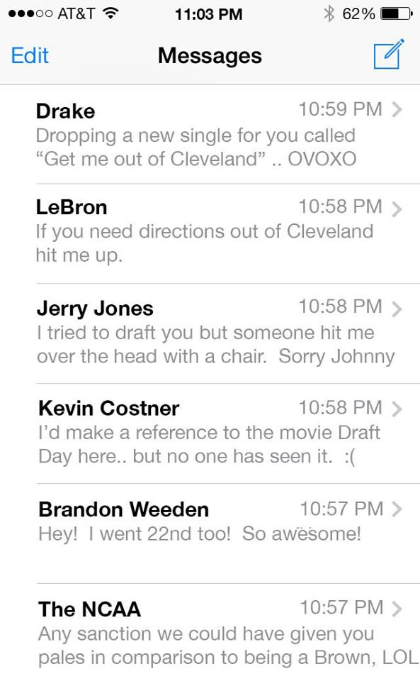 Johnny Manziel text inbox after draft