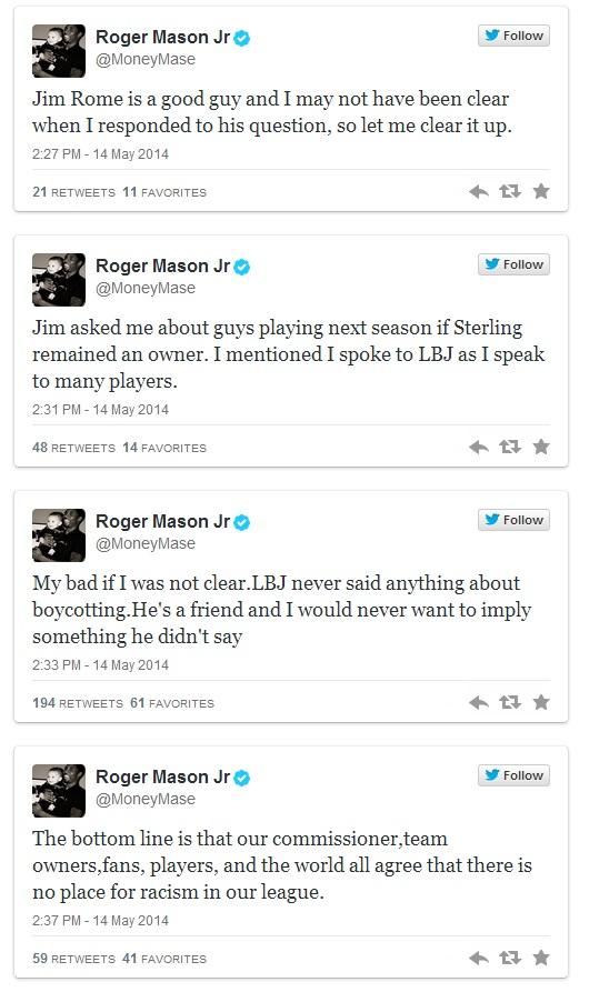 Roger Mason tweets LeBron