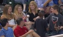 Young Fan at Rangers-Jays Game Uses Smooth Ball-Switch Move to Impress Hot Older Female  (Video)