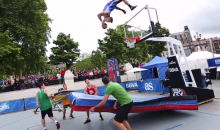 Watch a Guy Dunk a Basketball After Flying Off a Trampoline and Doing a Backflip Off the Backboard…We're Serious (Video)