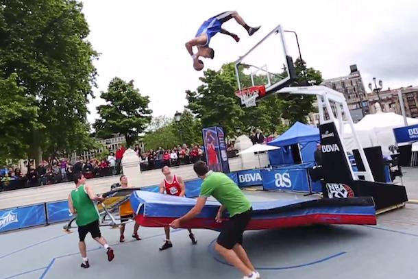 amazing trampoline dunk off backflip off backboard