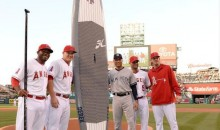 Derek Jeter Retirement Tour: Angels Present Captain with Pinstripe Paddleboard (Pic)