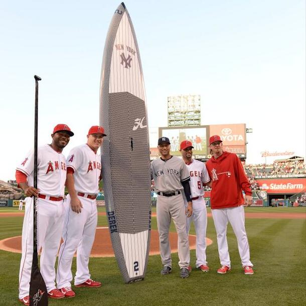 angles give jeter giant pinstriped surfboard
