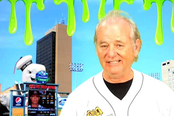 bill murray does harry caray impression for toledo mud hens ghostbusters night