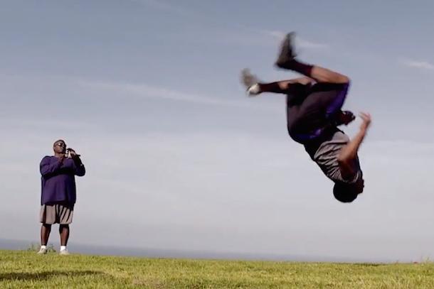 bishop sankey catches football doing backflip