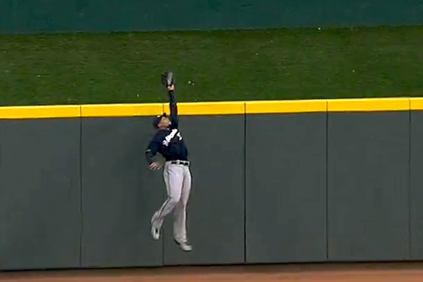 carlos gomez robs joey votto home run again