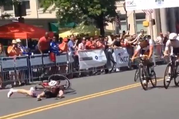 cyclist eats road after winning race