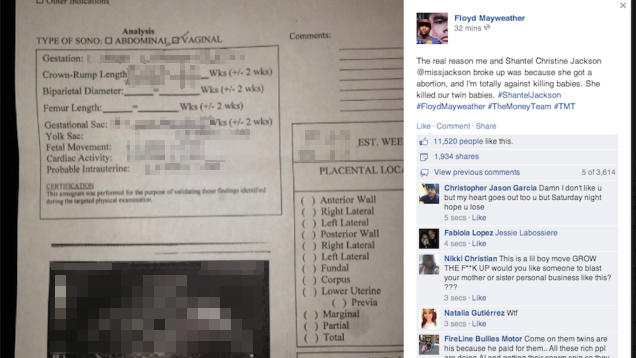 floyd mayweather facebook post sonogram abortion