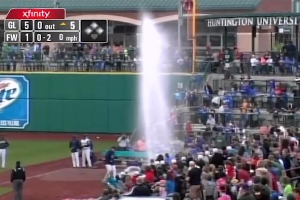geyser delay at minor league baseball game