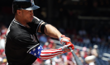 Patriotic Arm Sleeve Gives Giancarlo Stanton American Super Strength to Hit Massive Home Run (Video)