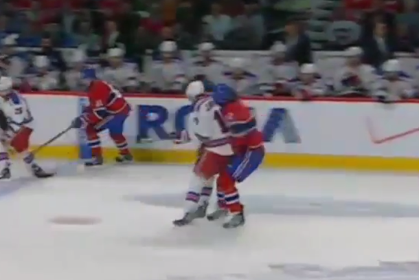 john moore hit on dale weise (rangers canadiens game 5)