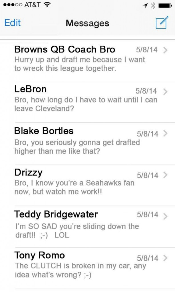 leaked texts from Johnny Manziel on draft night