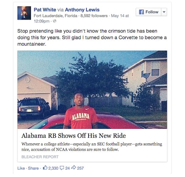 pat white facebook corvette alabama