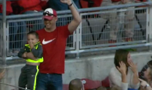 Reds Fan Catches Foul Ball with One Hand While Holding His Kid in the Other (Video)