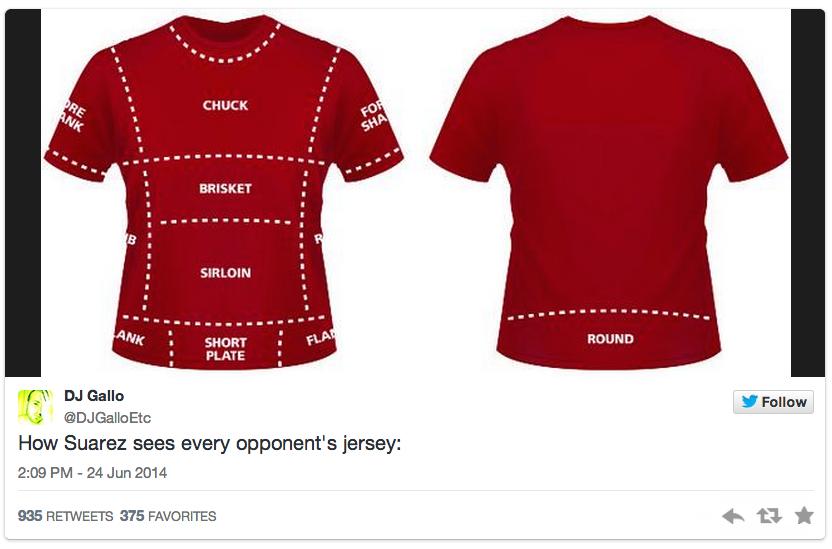 2 suarez opponents jersey cuts of meat - luis suarez bite memes and tweets