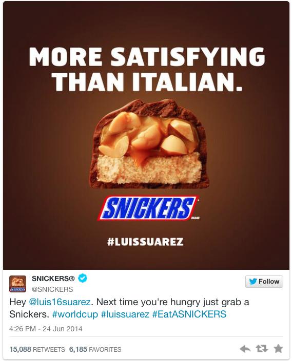21 snickers tweet - suarez bite memes