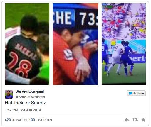 27 suarez gets the hat trick - luis suarez bite memes and tweets