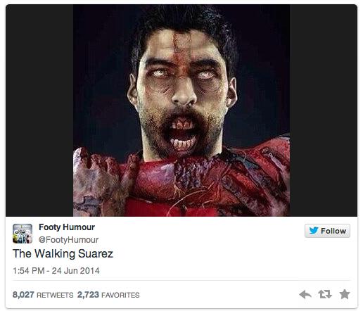 6 zombie suarez - luis suarez bite memes and tweets