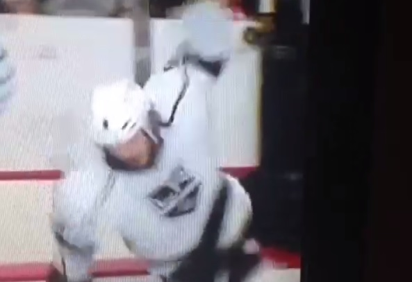 Drew Doughty fall over boards