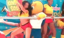 World Cup Mascot Caught Dirty Dancing With Sexy Female Dancers on Stage (Video)