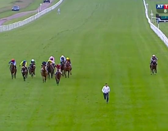 Guy Jumps On Racetrack, Races Horses