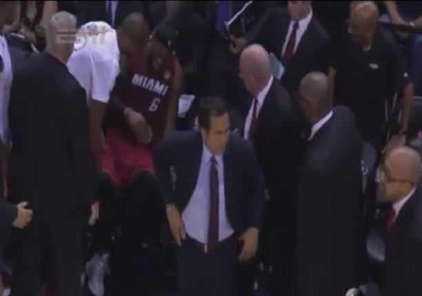 LeBron James Cramp Game 1 NBA Finals 2014