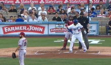 Yasiel Puig Bat Flip Veers Hilariously Off-Course, Nearly Hits Catcher and Ump (Video)
