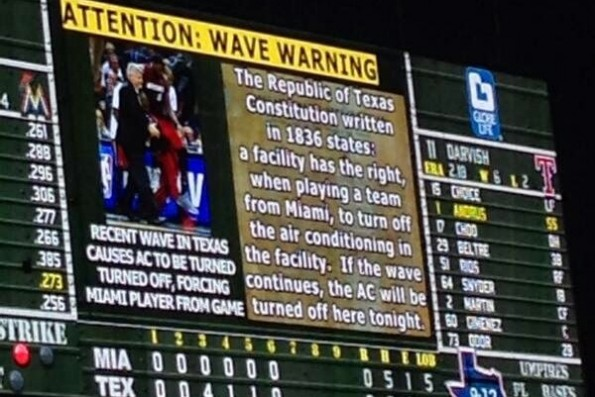 Texas Rangers' Anti-Wave Message (Photo by Bleacher Report)