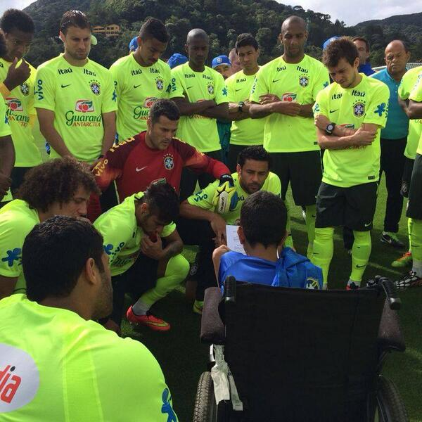 Wheelchair-Bound Team Brazil Fan Meets Team