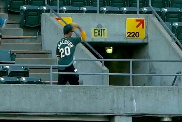 a's fan disgusted with himself after dropping foul ball
