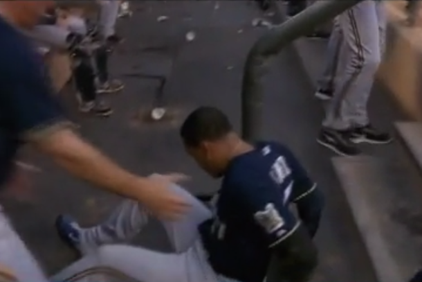 carlos gomez falls down stairs