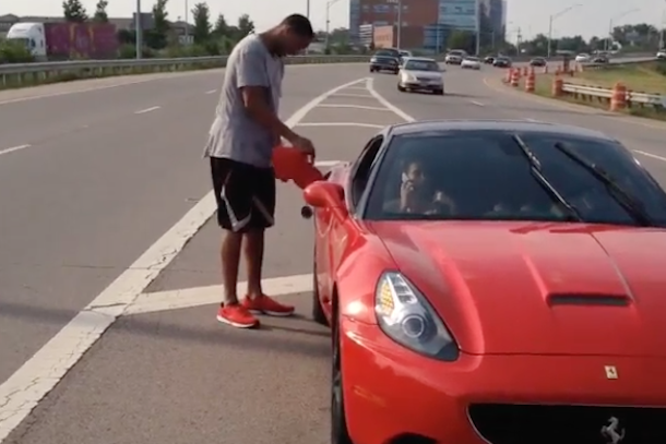 evan turner runs out of gas in ferrari runs out of gas on highway