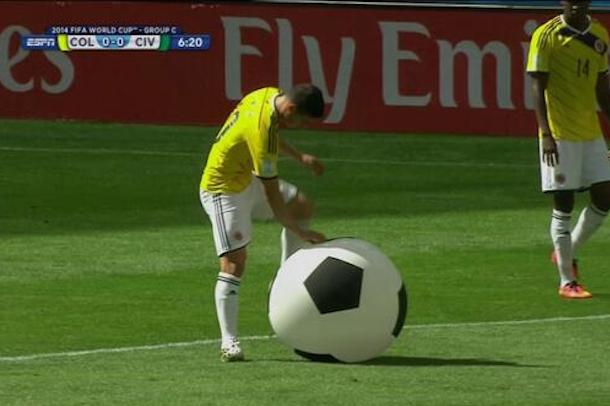 giant soccer ball on field at world cup colombia ivory coast