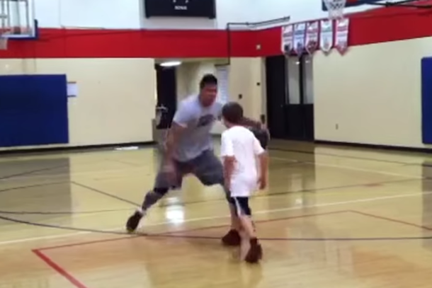 guy destroys kid on basketball court