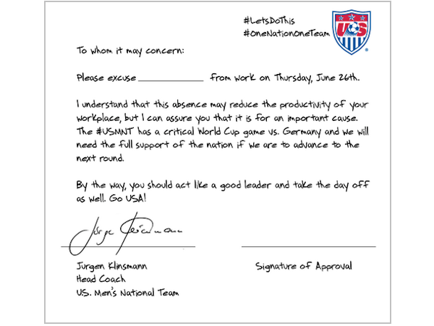 jurgen klinsmann work note