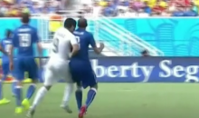 Luis Suarez Bites Giorgio Chiellini's Shoulder During World Cup Match vs. Italy (Photos + Videos)