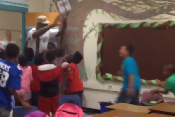 michael jordan surprises elementary school kids freak out
