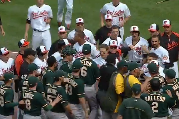 oakland baltimore bench clearing brawl