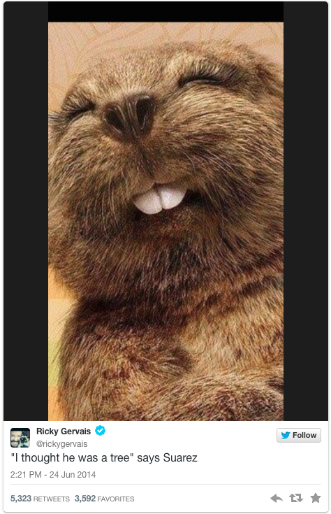 ricky gervais suarez beaver tweet - suarez bite memes and tweets