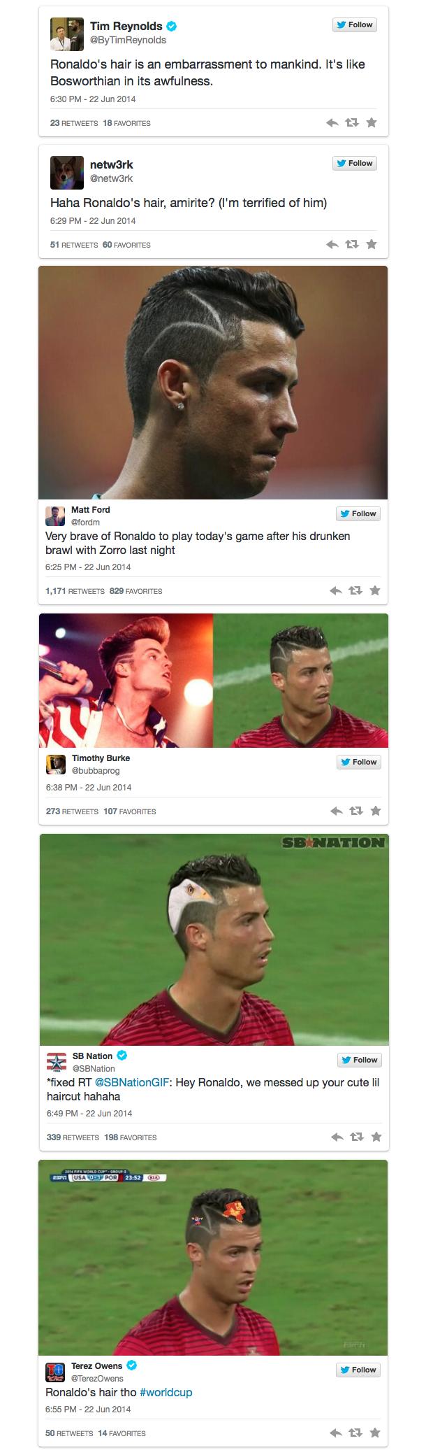 ronaldo hair twitter reaction 2