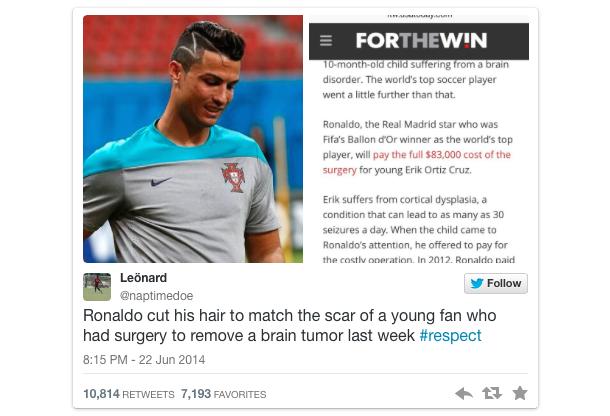 ronaldo haircut rumor tweet